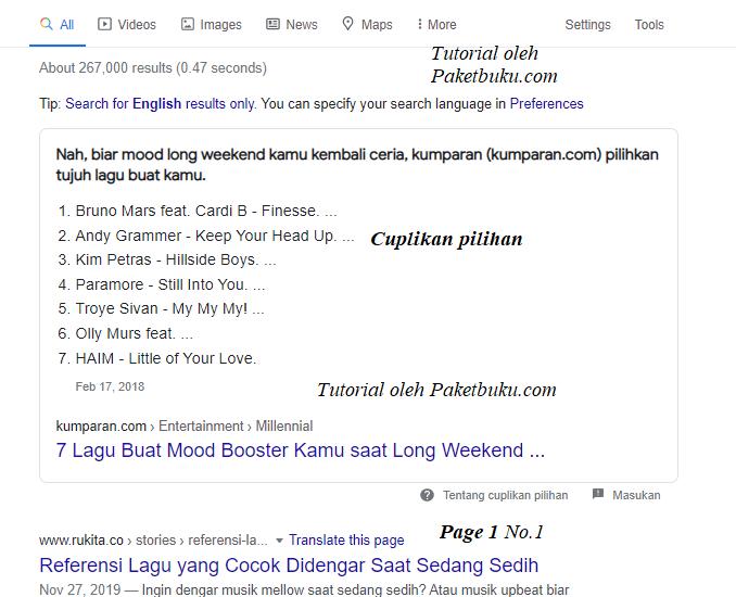 cara masuk ke cuplikan pilihan google untuk blogger dan wordpress